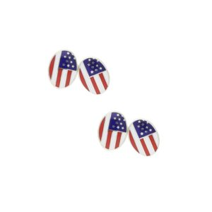 Men's sterling silver and enamel chainlink USA flag cufflinks