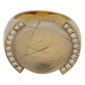 Rutilated Quartz Diamond Gold Ring