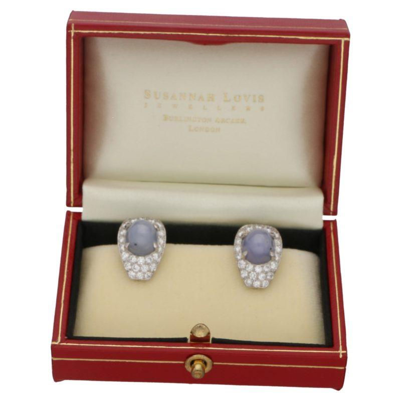 Star sapphire diamond earrings