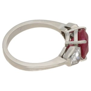 Ruby Diamond Three Stone Engagement Ring