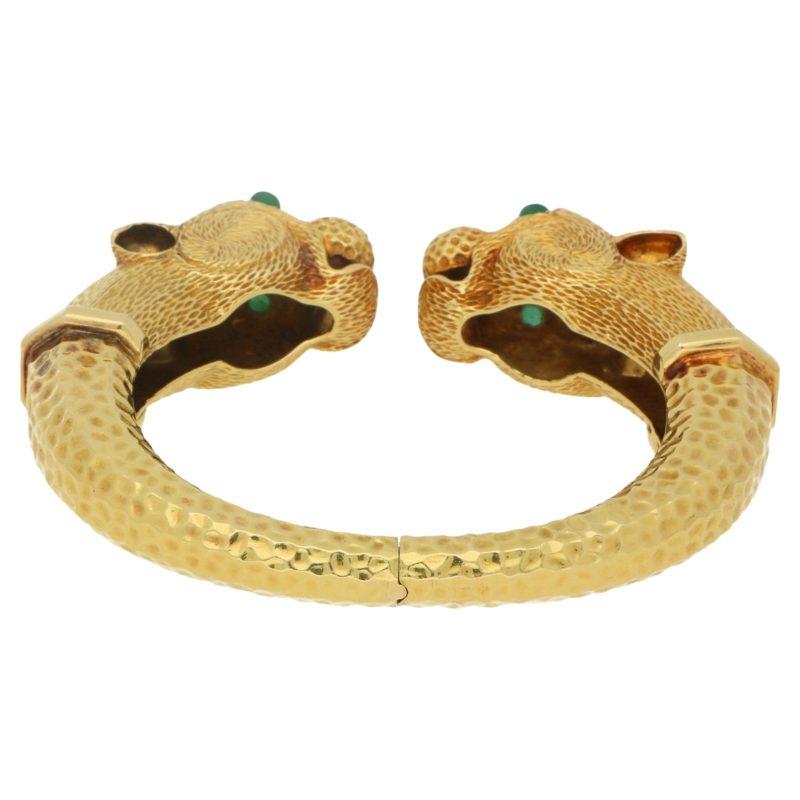 18ct gold leopard head bangle
