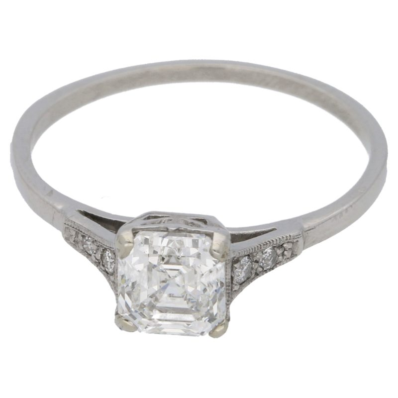 Art Deco Asscher cut diamond engagement ring in platinum
