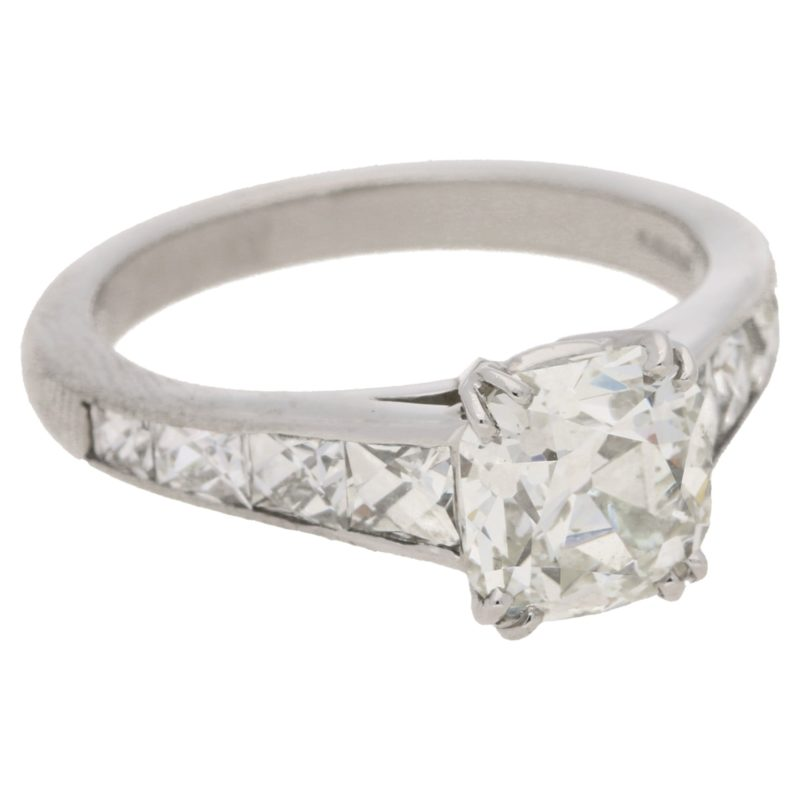 Squared Old Mine-Cut Diamond Engagement Ring in Platinum