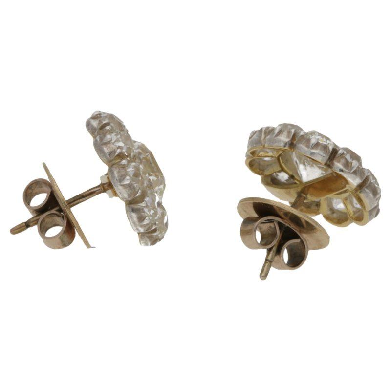 Victorian diamond cluster stud earrings