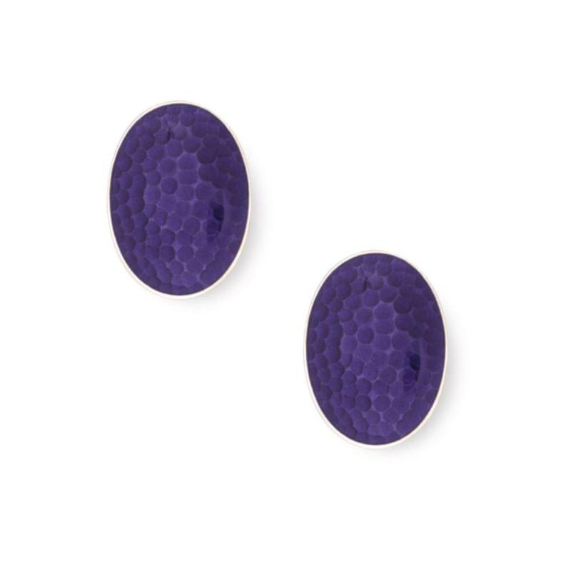 Purple enamel silver hammered cufflinks