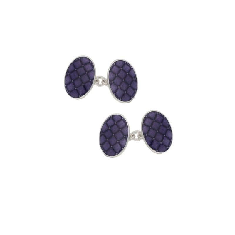 Men's sterling silver purple enamel cushion cufflinks