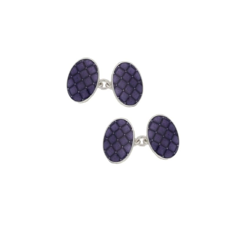 Gorgeous Purple Enamel Cushion Cufflinks