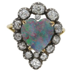 Victorian heart opal diamond cluster ring