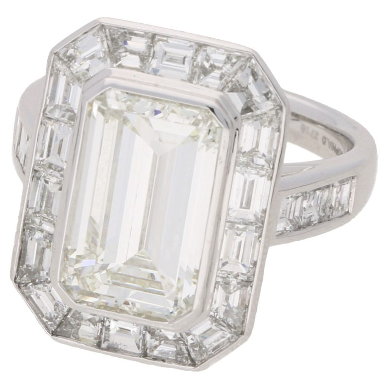 4.13ct Deco style emerald cut diamond ring