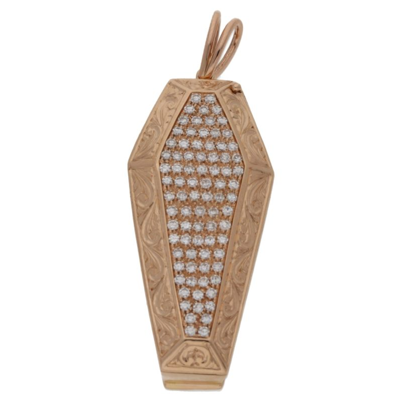 18ct rose gold coffin pendant set with diamond