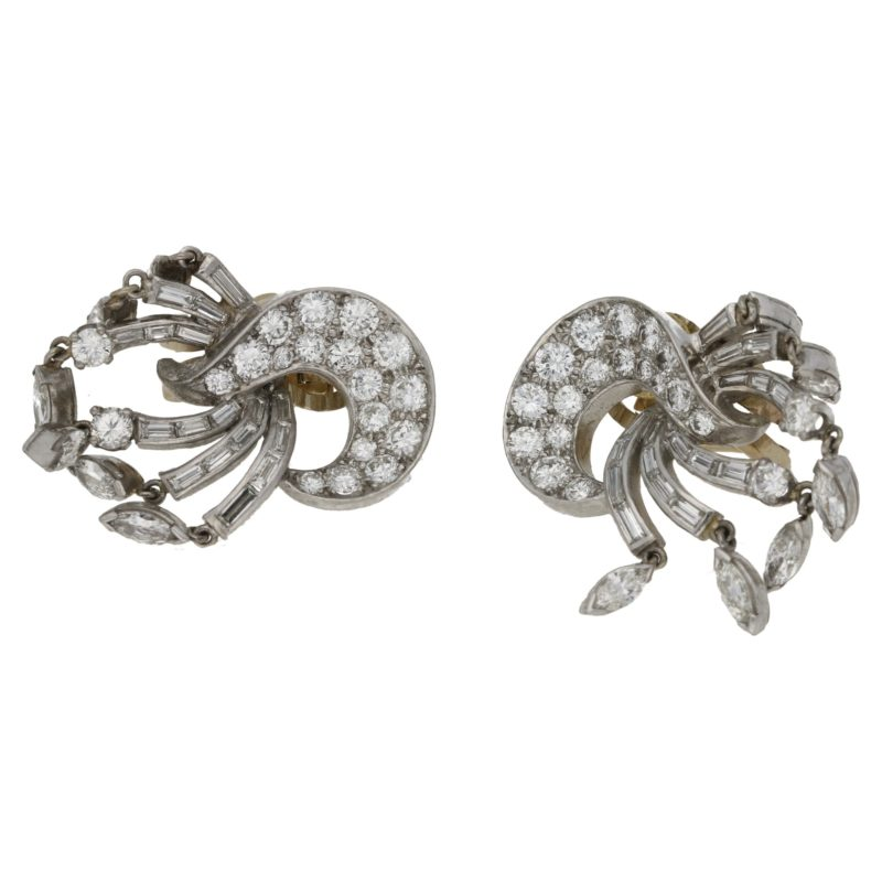 1950s diamond drop earrings in platinum