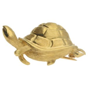 Vintage gold turtle brooch