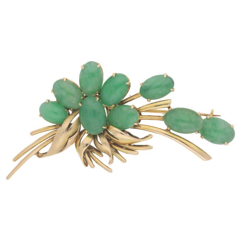 14ct gold jadeite floral spray brooch
