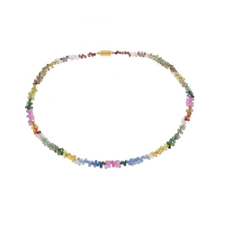 Multi gem briolette necklace
