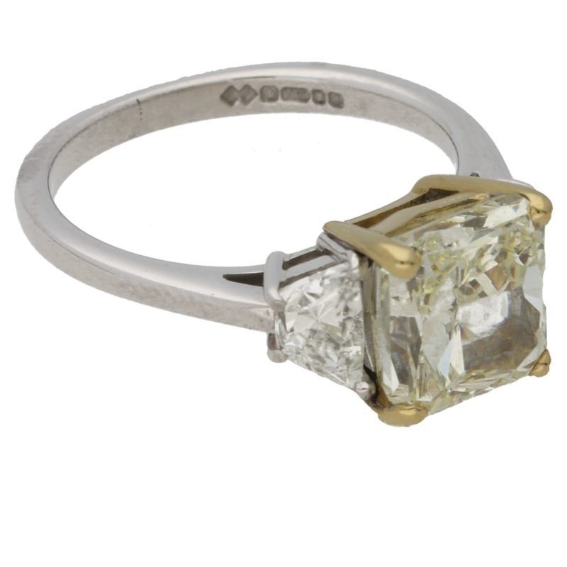 3.51ct radiant cut yellow diamond engagement ring