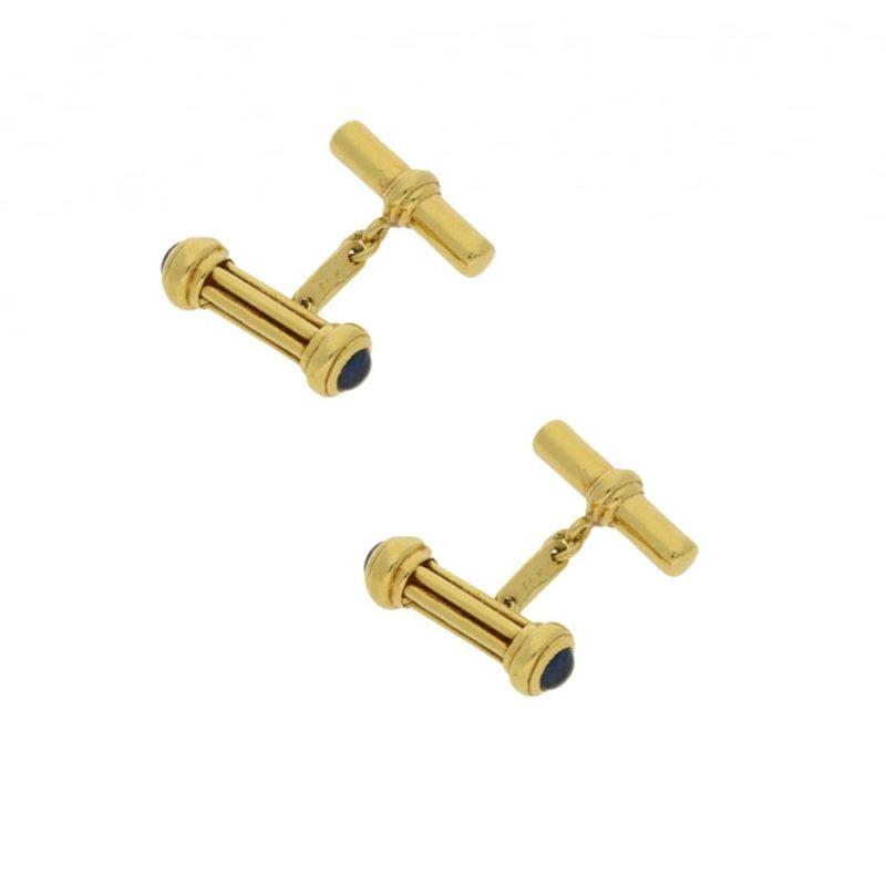 18k gold cabochon sapphire cufflinks