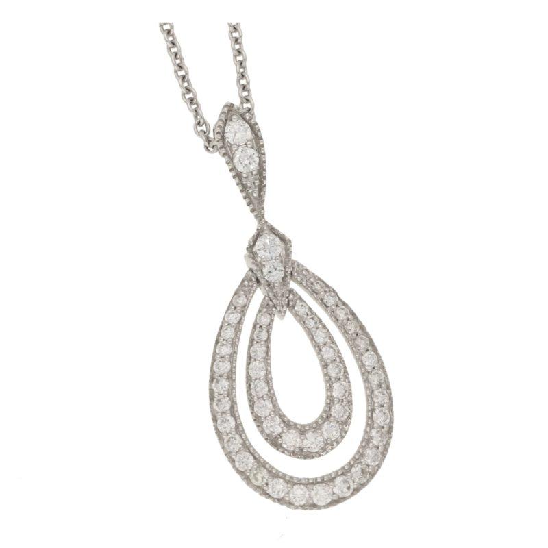 18ct double diamond loop pendant
