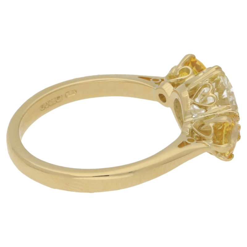 1.85ct Diamond and Yellow Sapphire Engagement Ring