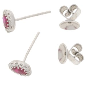 Ruby and Diamond Oval Cluster Stud Earrings in White Gold