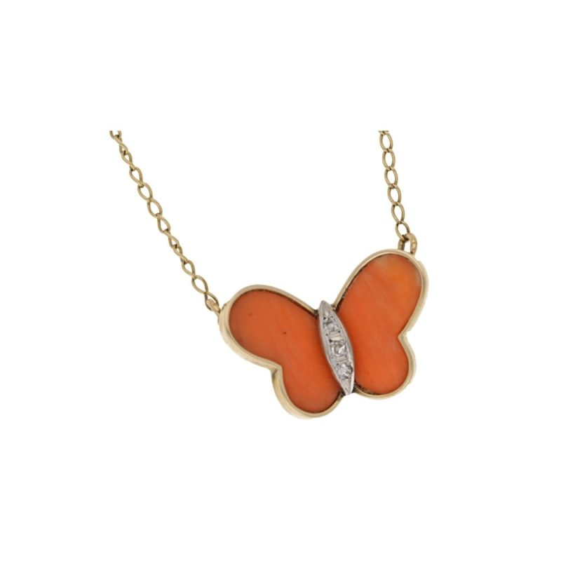 Coral Diamond Butterfly Necklace