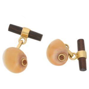 18k gold shell citrine ebony cufflinks