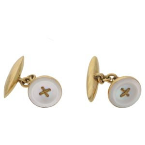 15k gold mother of pearl chain link cufflinks
