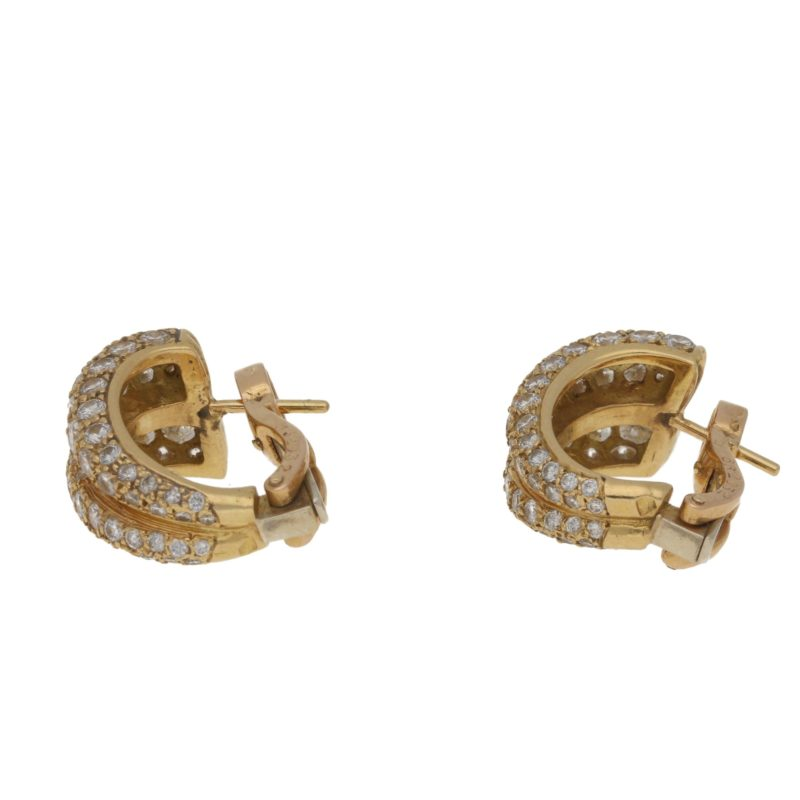 Diamond gold double hoop earrings