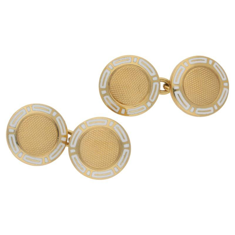 18k gold Bulgari enamel cufflinks