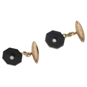 18k octagonal cufflinks with diamond centres