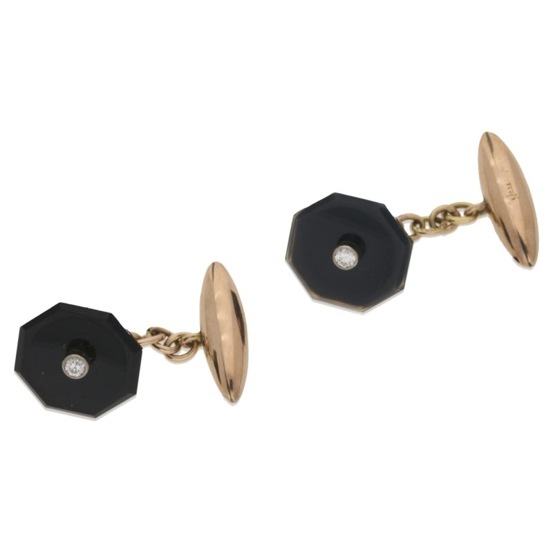 18k octagonal cufflinks with diamond centres
