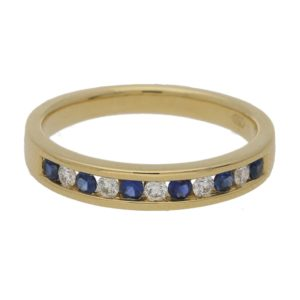 18ct gold sapphire diamond half eternity ring