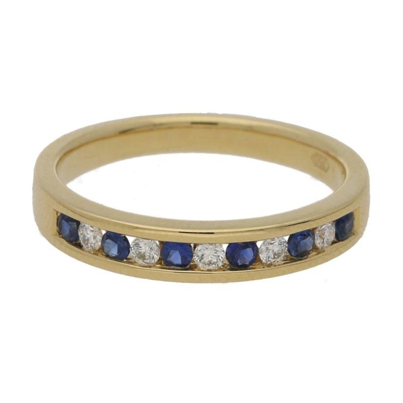 18ct gold sapphire diamond half eternity ring