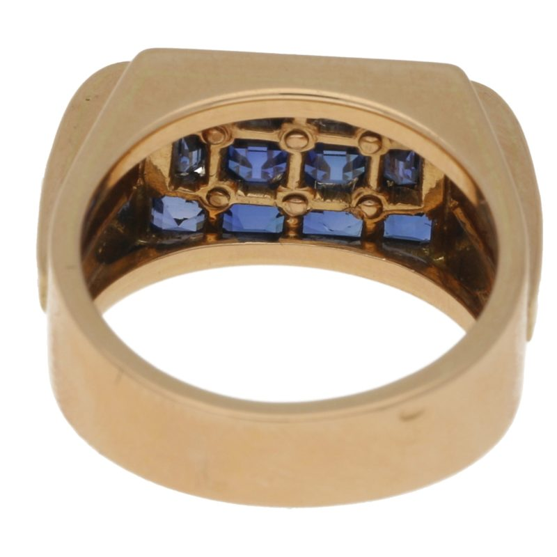 Retro Sapphire and Diamond Cocktail Ring in Rose Gold, c. 1940