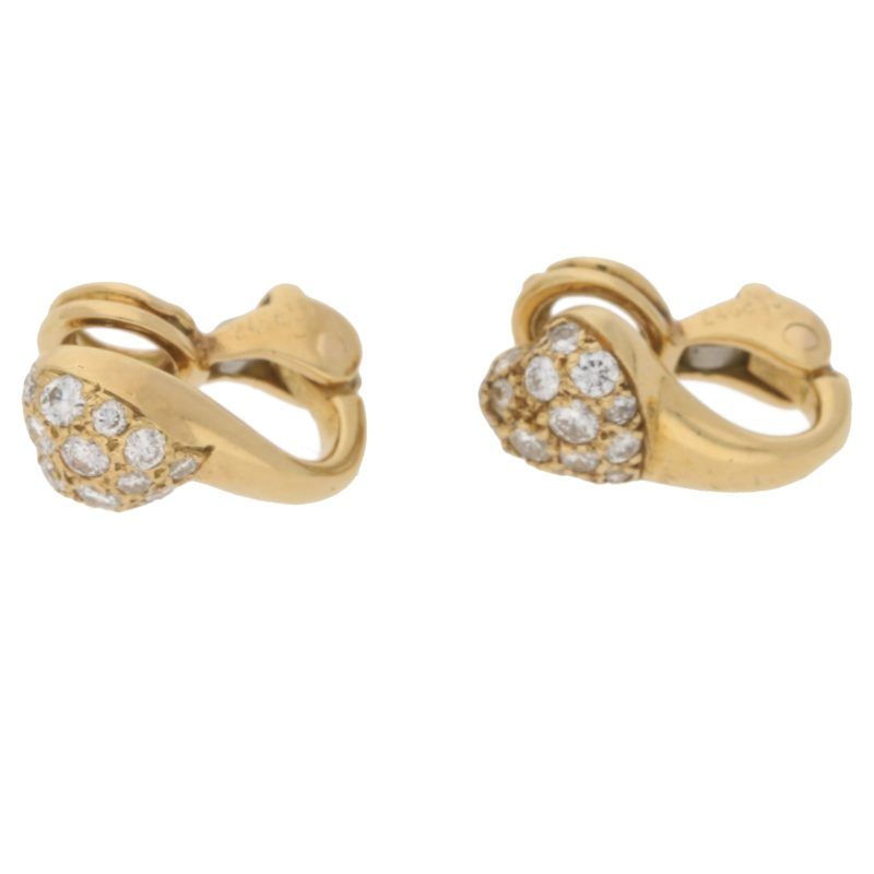 18ct gold diamond heart clip on earrings