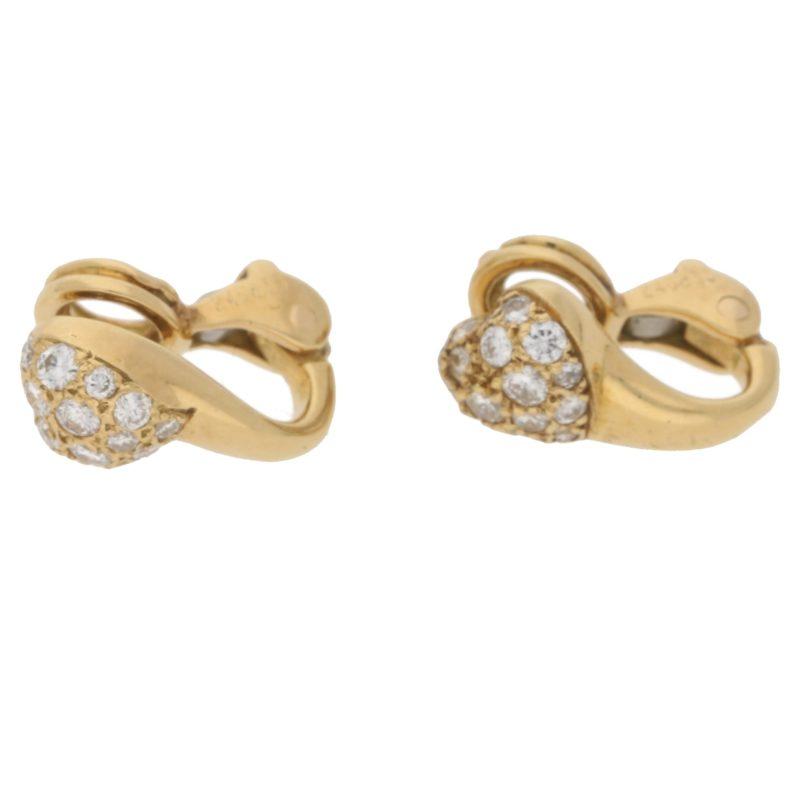 18ct gold diamond heart clip on earrings