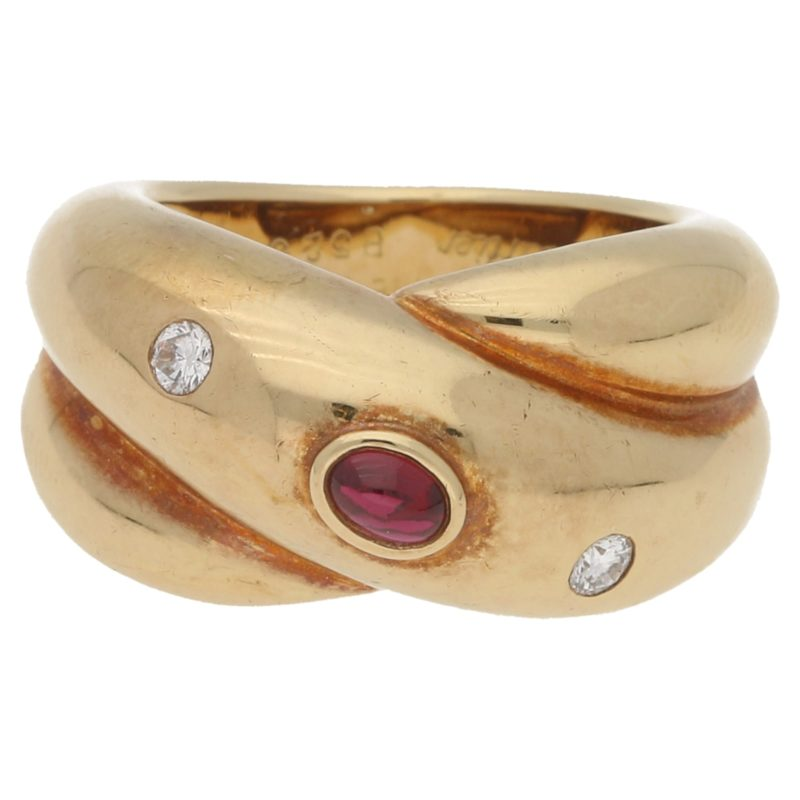 18ct yellow gold ruby and diamond Cartier Colisee ring