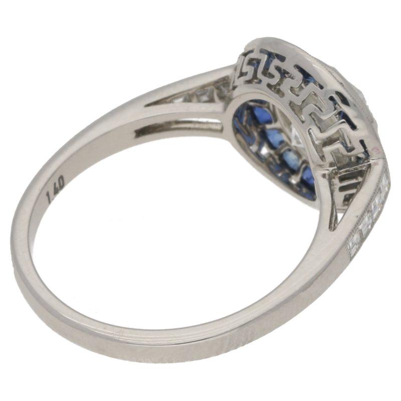 Round Brilliant-Cut Diamond and Sapphire Target Ring in Platinum