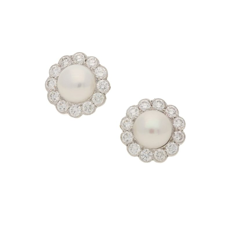 18ct white gold pearl and diamond cluster earrings