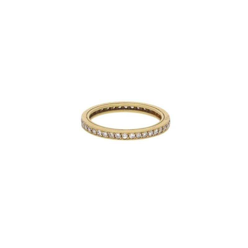 18ct yellow gold grain set diamond full eternity ring
