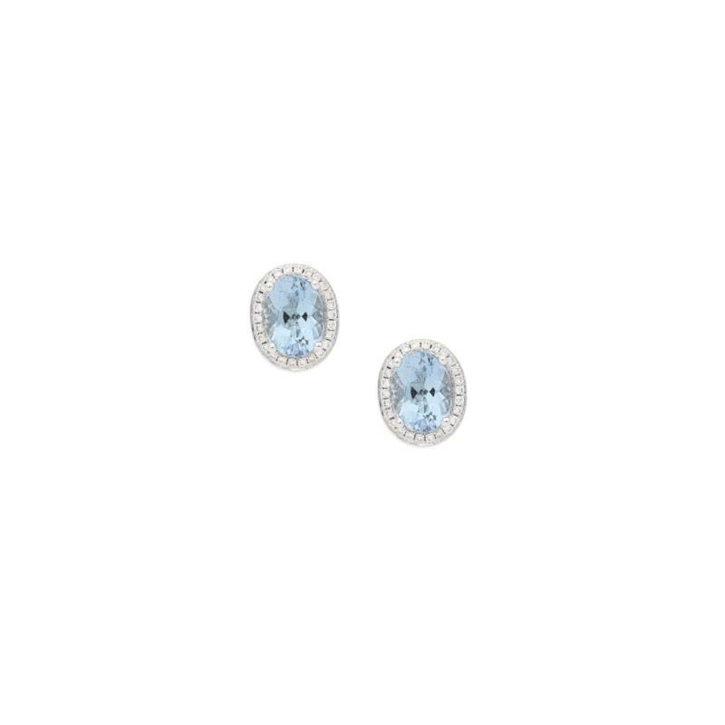 Aquamarine diamond cluster stud earrings