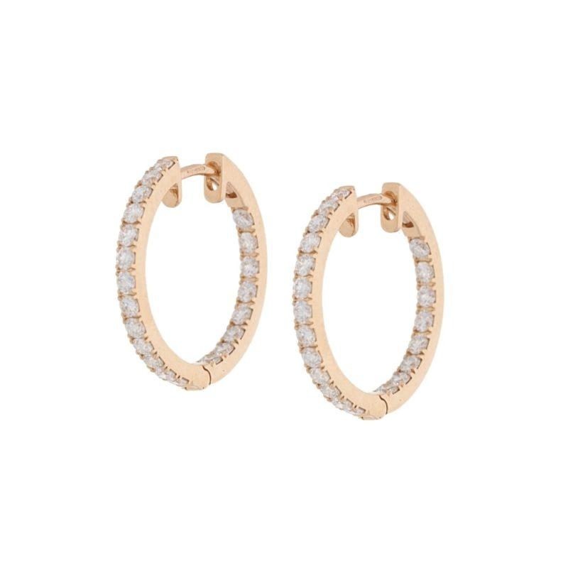 18 karat rose gold diamond hoop earrings