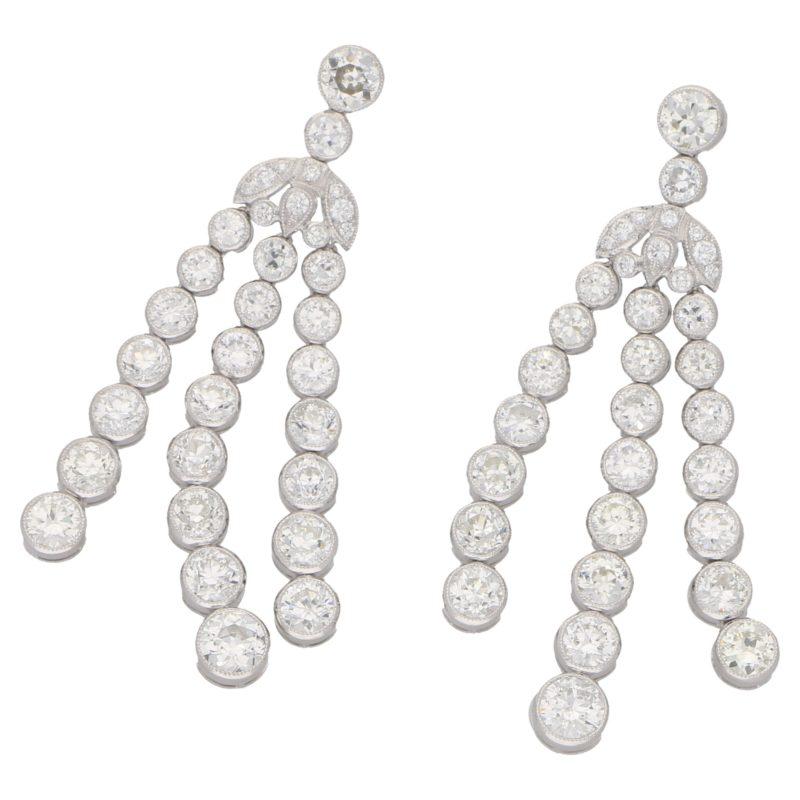Diamond large drop earrings