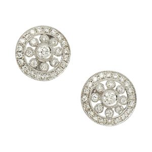 18ct gold pierced openwork diamond circlet earrings
