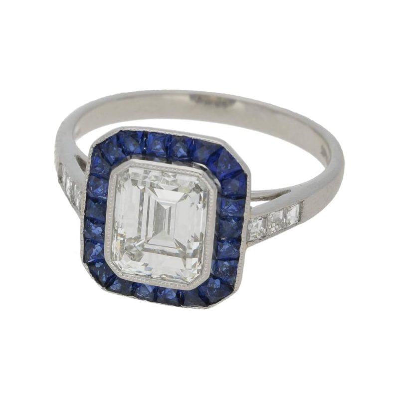 Emerald Cut Diamond and Sapphire Target Engagement Ring Platinum
