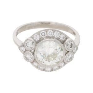Old European Brilliant-Cut Diamond Cluster Ring in Platinum