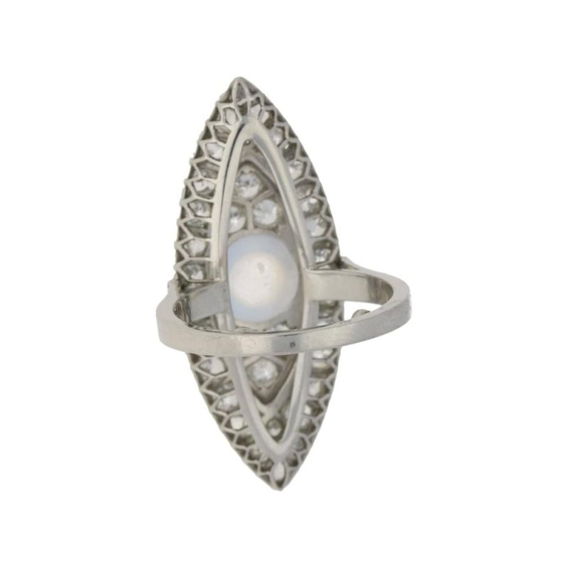 Art Deco Moonstone and Diamond Marquise-Shaped Ring in Platinum