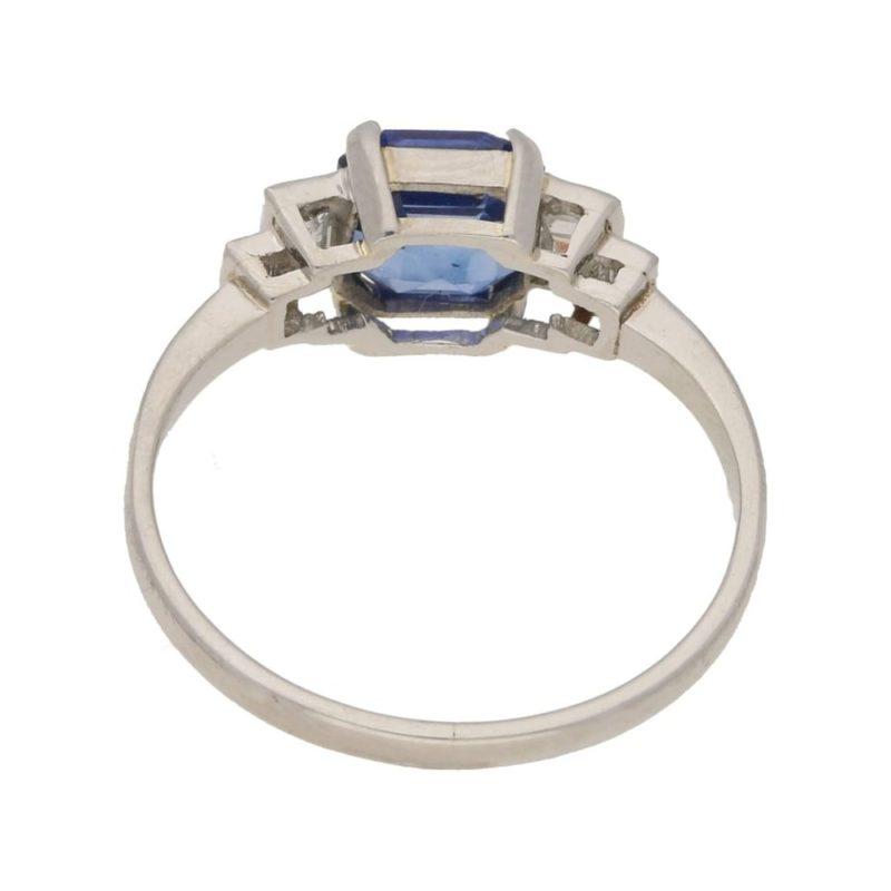Octagonal Sapphire Diamond Engagement Ring