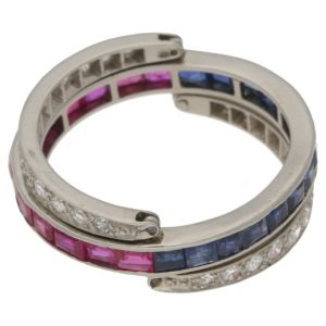 Vintage diamond sapphire ruby flip ring