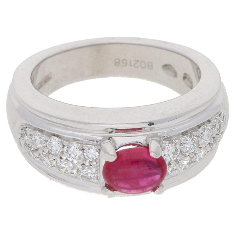 Ruby and diamond set platinum Boucheron dress ring