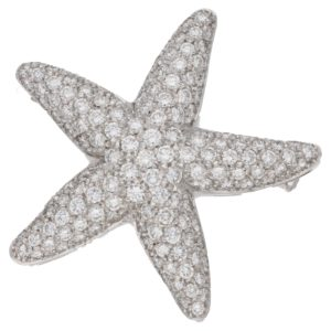 Diamond Starfish Brooch / Pendant in White Gold